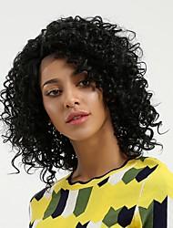 Недорогие -Синтетические кружевные передние парики Кудрявый Боковая часть 130% Человека Плотность волос Искусственные волосы Природные волосы Черный Парик Жен. Средняя длина Лента спереди