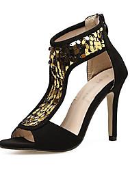 preiswerte -Damen Schuhe Stoff Sommer Pumps Sandalen Stöckelabsatz Peep Toe Paillette für Party & Festivität Schwarz
