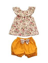 preiswerte -Kinder Baby Mädchen Blumen Ärmellos Kleidungs Set