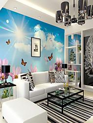 Недорогие -фреска холст Облицовка стен - Клей требуется Цветочный принт Ар деко 3D