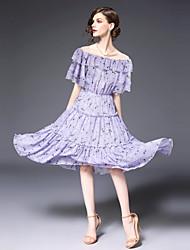 Недорогие -Жен. Тонкие Шифон Платье - Цветочный принт, С принтом Вырез лодочкой До колена