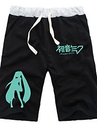 cheap -Inspired by Vocaloid Hatsune Miku Anime Cosplay Costumes Cosplay Tops / Bottoms Solid Colored Anime Mid Length Pant Shorts For All