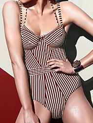 cheap -Women's Boho Strapless One-piece - Striped Backless High Waist
