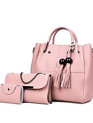baratos -Mulheres Bolsas PU Leather Conjuntos de saco 3 Pcs Purse Set Mocassim Rosa / Cinzento / Marron