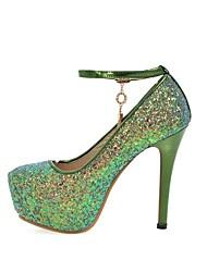 Недорогие -Жен. Обувь Блестки Весна / Осень Удобная обувь Обувь на каблуках На шпильке Круглый носок Пайетки Лиловый / Зеленый / Розовый