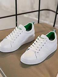 billige -Dame Sko PU Nubuck Læder Forår Efterår Komfort Sneakers Flade hæle for Afslappet Sort Grøn