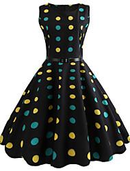 economico -Per donna Vintage Swing Vestito A pois Al ginocchio