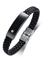 Недорогие -Муж. Кожаные браслеты - Кожа Мода Браслеты Черный Назначение Повседневные Школа