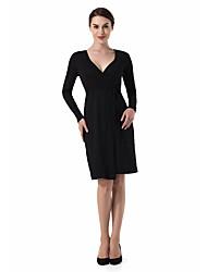 cheap -Women's Basic Slim Bodycon Dress - Solid Colored V Neck Strapless
