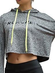 baratos -Mulheres Camiseta de Corrida Blusas - Esportes Manga Longa Secagem Rápida strenchy Cinzento Escuro, Cinzento