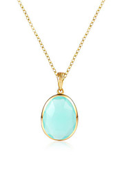 cheap -Women's Aquamarine Long Pendant Necklace - 18K Gold Plated, S925 Sterling Silver European, Elegant Light Green 45 cm Necklace Jewelry For Gift, Daily