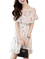 cheap -Women's Street chic Loose Sheath Dress - Floral Off Shoulder