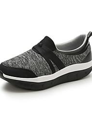 preiswerte -Damen Schuhe Stoff Frühling / Sommer Komfort Loafers & Slip-Ons Flacher Absatz Runde Zehe Grau / Dunkelgrau / Wein