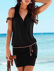 baratos -Mulheres Praia Bandagem Básico Delgado Bainha Vestido - Franzido, Sólido Decote V Mini Preto