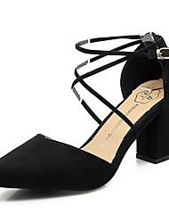 abordables -Femme Chaussures Daim Printemps / Eté A Bride Arrière Chaussures à Talons Talon Bottier Bout pointu Noir / Gris / Rose dragée clair