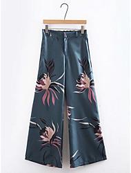 cheap -Women's Basic Wide Leg Pants - Floral