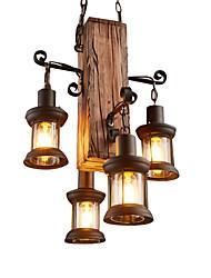 Недорогие -4-Light промышленные Подвесные лампы Рассеянное освещение Дерево / бамбук Мини 110-120Вольт / 220-240Вольт Лампочки не включены / E26 / E27