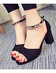 preiswerte -Damen Schuhe Nubukleder Frühling Sommer Pumps Komfort Sandalen Blockabsatz für Normal Schwarz Grau