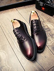 cheap -Men's Shoes Leather Spring Summer Formal Shoes Oxfords Rivet for Wedding Party & Evening Black Red