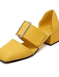 preiswerte -Damen Schuhe PU Frühling Herbst Pumps Komfort High Heels Block Ferse für Weiß Schwarz Gelb