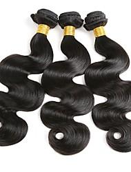 Недорогие -3 Связки Бразильские волосы Волнистый Натуральные волосы Накладки из натуральных волос Ткет человеческих волос Удлинитель / Горячая распродажа Естественный цвет Расширения человеческих волос Все