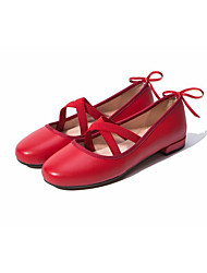 abordables -Femme Chaussures Cuir Printemps Eté Mary Jane Mocassins et Chaussons+D6148 Talon Bas Bout rond pour Noir Rouge Chair