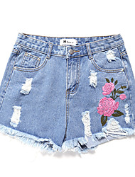 cheap -Women's Basic Cotton Shorts / Jeans Pants - Floral Embroidered
