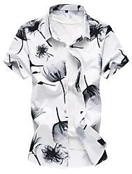Недорогие -Муж. Рубашка Хлопок Классический / Шинуазери (китайский стиль) Цветочный принт / С короткими рукавами
