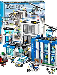 cheap -City Police Station Motorbike Helicopter Model Building Blocks 890pcs Architecture City View High Quality Gift