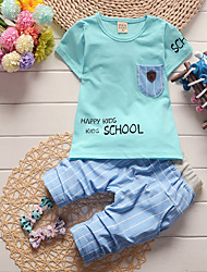 cheap -Boys' Daily Holiday Print Clothing Set, Cotton Acrylic Spring Summer Sleeveless Cute Active White Yellow Light Blue