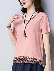 baratos -Mulheres Camiseta Básico Estampado,Sólido
