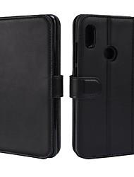Недорогие -Кейс для Назначение Xiaomi Redmi Note 5 Pro Бумажник для карт Кошелек со стендом Флип Магнитный Чехол Однотонный Твердый Настоящая кожа