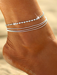 cheap -Bohemian Multi Layer Bikini Crystal Rhinestone Anklet - Women's Silver Bohemian Multi Layer Bikini Circle Geometric Alloy Anklet For Gift