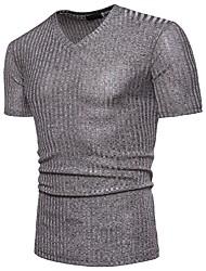Недорогие -Муж. Футболка Хлопок, V-образный вырез Классический Однотонный / С короткими рукавами