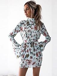 baratos -Mulheres Fofo Moda de Rua Manga Alargamento Camisa Vestido - Frente Única Estampado, Floral Acima do Joelho