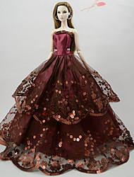 abordables -Vestidos Vestir por Muñeca Barbie  Chocolate Poliéster / Algodón Vestido por Chica de muñeca de juguete