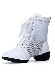 Недорогие -Жен. Танцевальные сапожки Искусственное волокно / Тюль С раздельной подошвой На низком каблуке Персонализируемая Танцевальная обувь Белый