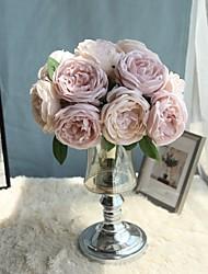 baratos -Flores artificiais 5 Ramo buquês de Noiva / Pastoril Estilo Rosas / Camélia Flor de Mesa