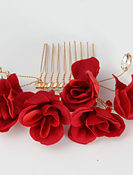 cheap -Fabric Hair Combs with Floral 1pc Wedding Party / Evening Headpiece