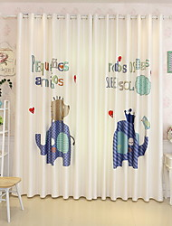 cheap -Blackout Curtains Drapes Living Room Cartoon Cotton / Polyester Printed