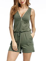 cheap -Women's Plus Size Going out / Beach Basic / Street chic Slim Romper - Solid Colored High Waist V Neck / Summer / Fall