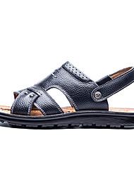 Недорогие -Муж. Кожа Лето Удобная обувь Сандалии Для прогулок Черный / Желтый / Коричневый
