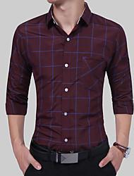 Недорогие -Муж. Рубашка Классический Шахматка