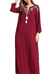 abordables -Mujer Básico Algodón Delgado Recto Vestido - Bordado, Un Color Maxi Escote Cuadrado Negro