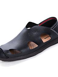 お買い得  -男性用 靴 PUレザー 春 夏 コンフォートシューズ サンダル のために スポーツ ブラック イエロー Brown ブルー