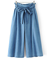 cheap -Women's Basic Wide Leg Jeans Pants - Solid Colored