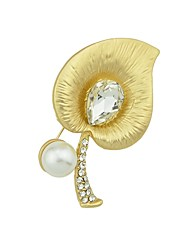 baratos -Mulheres Broches - Flor Básico, Fashion Broche Dourado Para Diário / Encontro