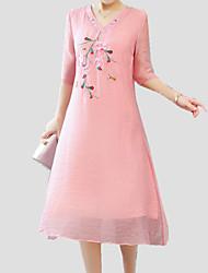 baratos -Mulheres Feriado Sofisticado Solto Evasê Vestido - Bordado, Sólido Decote V Médio
