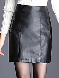 cheap -Women's Street chic Faux Leather A Line Skirts - Solid Colored