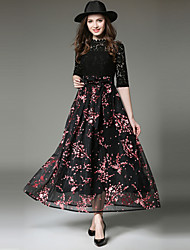 cheap -SHIHUATANG Women's Sophisticated Street chic Swing Dress - Floral, Lace Bow